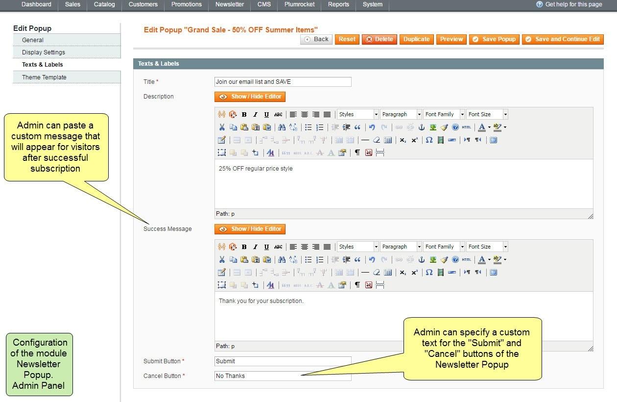 Nieuwsbrief Popup Extensie voor Magento 1-99